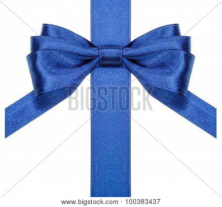 Blue Bow With Vertical Cut Ends On Ribbon Close Up