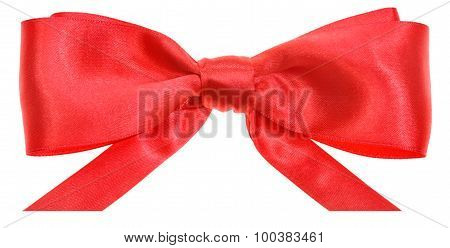 Real Red Ribbon Bow With Horizontal Cut Ends