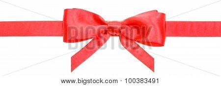 Red Ribbon And Real Bow With Vertical Cut Ends