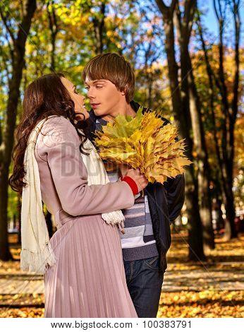 Loving couple on date autumn outdoor.