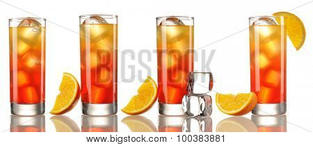 Tequila Sunrise cocktail set isolated on white