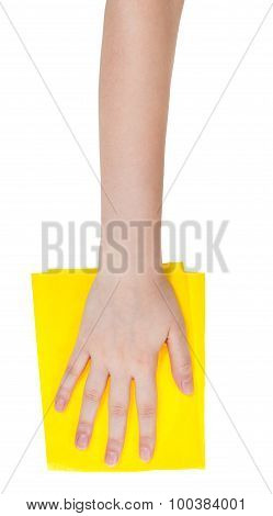 Top View Of Hand With Yellow Cleaning Rag Isolated