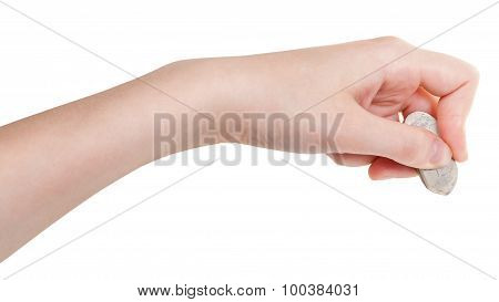 Side View Of Hand With Rubber Eraser Isolated