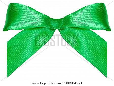 One Green Satin Bow-knot Isolated On White