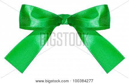 Green Satin Bow Knot Isolated On White