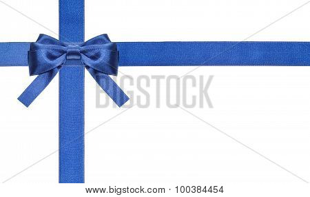 Blue Satin Bows And Ribbons Isolated - Set 2