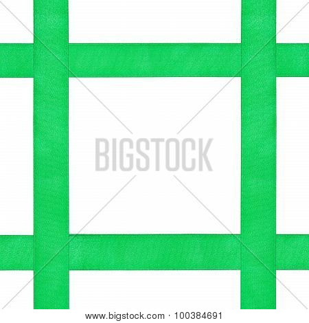 Four Crossing Green Satin Bands Isolated On White