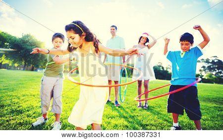 Family Bonding Park Relaxing Exercise Concept