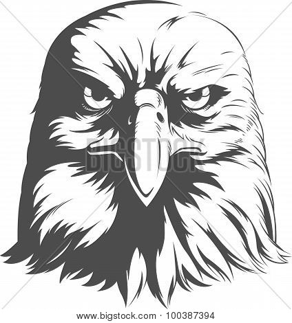 Eagle Head Vector - Front View Silhouette.eps