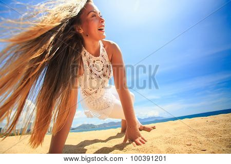 Girl In Lace Wind Shakes Hair In Yoga Asana Arms Balance