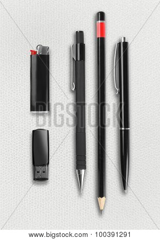 Pen, Pencil, Ligter And Flash Drive Set.