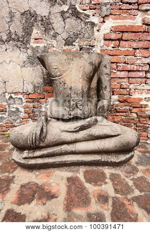 Buddha Statue At Wat Mahathat, Archaeological Sites And Artifacts.
