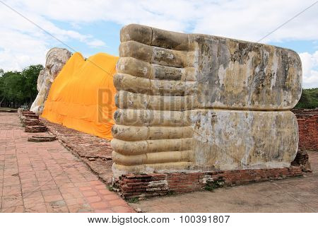 The Largest Reclining Buddha In The Island City Of Ayutthaya