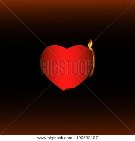 Burning red heart