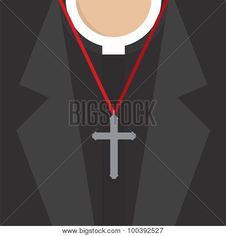 Cross Lanyard On On Priest's Neck.