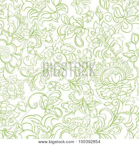 floral seamless pattern in batik style