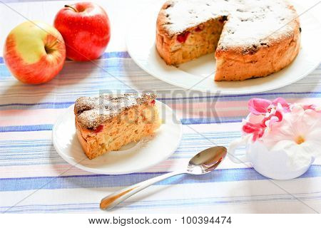 apple charlotte cake decorated with flowers