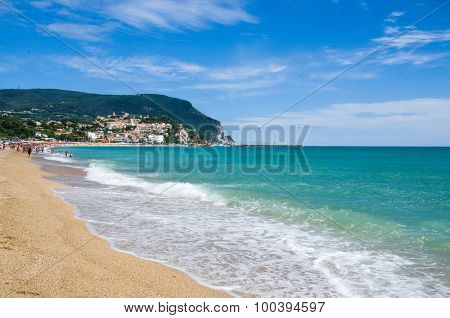 The Beach Of Numana In The Summer Season (marche Region - Italy)