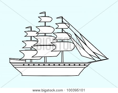 Sailing white ship frigate retro transport sea