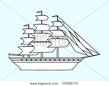 Sailing white ship frigate retro transport sea
