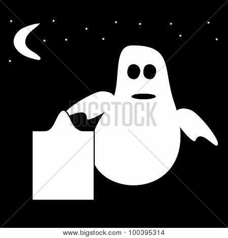 Funny Ghost Halloween night tombstone cemetery