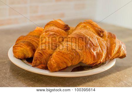 tasty brioches paste cornetti breakfast food italian ** Note: Shallow depth of field