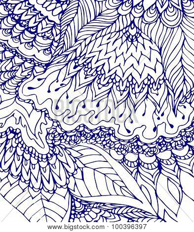Blue And White Template. Doodle Drawing. Hand-drawn Pattern. Abstract Blue Lines, Curves And Leaves