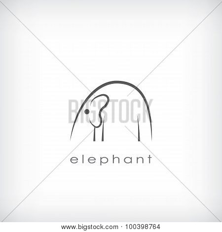 Elephant outline schematic symbol in minimalistic style on isolated background