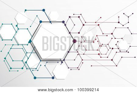 Vector Abstract futuristic. Molecule technology on light gray background