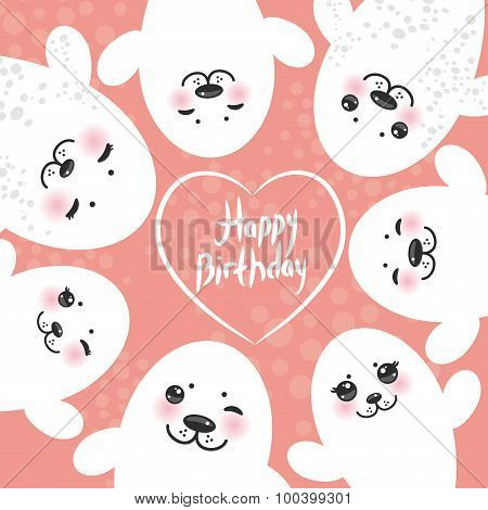 Happy birthday card design Funny white fur seal pups, cute winking seals with pink cheeks and big ey