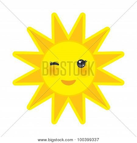 funny cartoon yellow sun smiling and winking eyes and pink cheeks, sun on white background. Vector