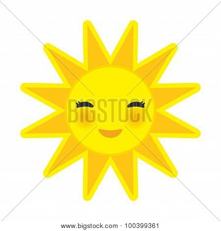funny cartoon yellow sun smiling with closed eyes and pink cheeks, sun on white background. Vector