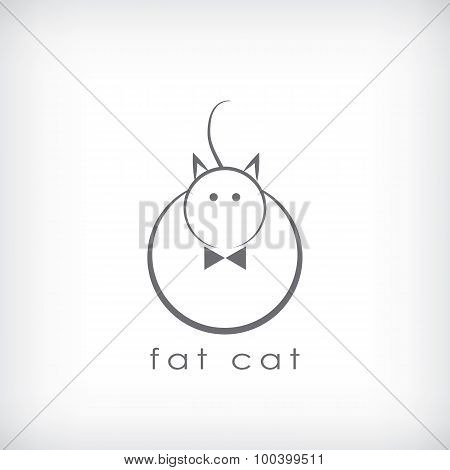 Fat cat symbol in simple lines design.