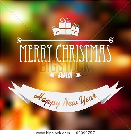 Christmas card design with glowing blurred gradient mesh background and typography message.