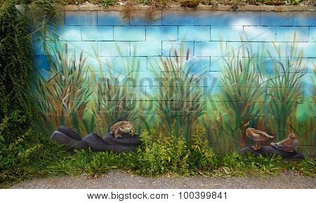view on a lake side with wild nature scenery wall painting with toad and ducks