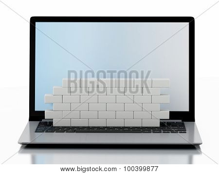 3D Laptop With Brick Wall. Firewall Concept.