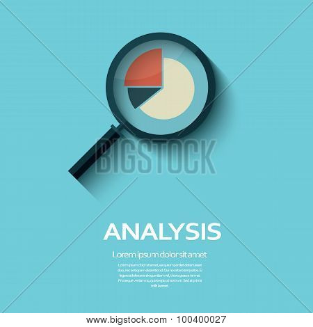 Business Analysis symbol with magnifying glass icon and pie chart.