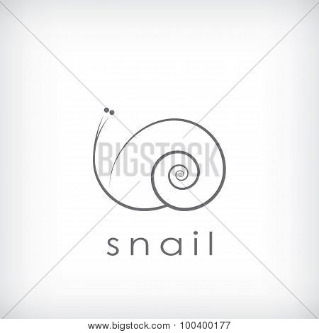 Cute little snail symbol in simple outlines suitable for corporate identity