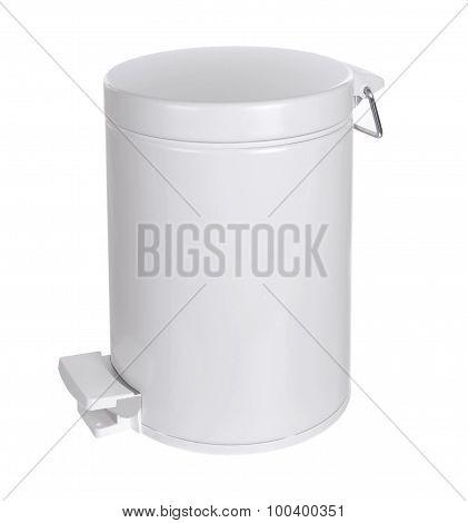 White Metal rubbish bin