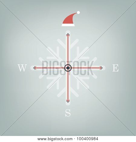 Christmas compass with santa claus hat on north pole card design