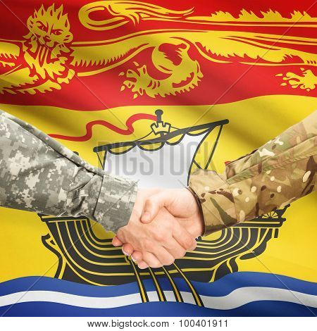 Military Handshake And Canadian Province Flag - New Brunswick