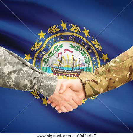 Military Handshake And Us State Flag - New Hampshire