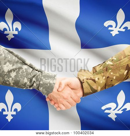 Military Handshake And Canadian Province Flag - Quebec