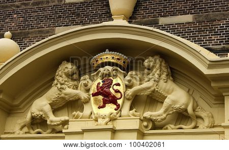 Red Lion Statue - One The National Emblem In The Hague, Netherlands