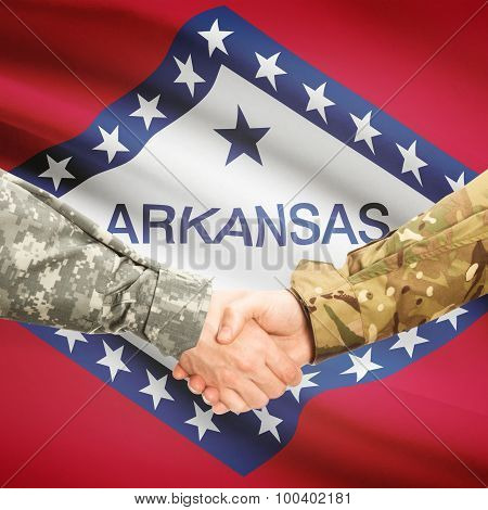 Military Handshake And Us State Flag - Arkansas
