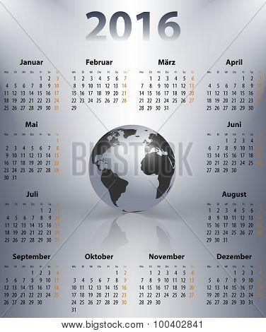 German Business Calendar For 2016 Year