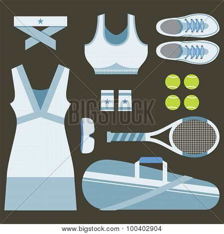 Top View Set Of White Tennis Women's Gears.