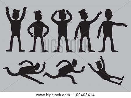 Cartoon Man Silhouette Vector Illustration