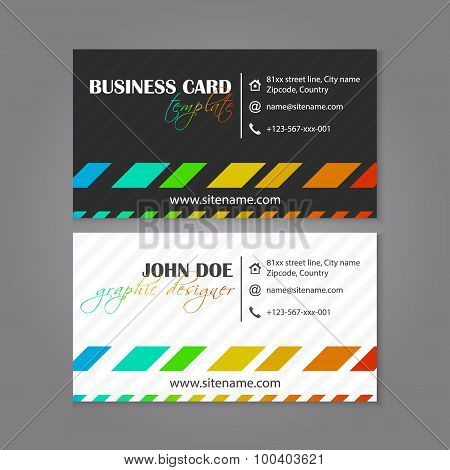 Business card template, coloruful design for individual or business presenation