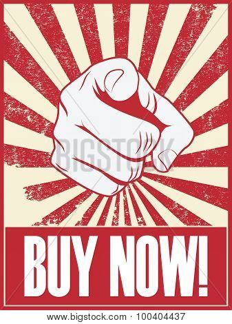 Buy now banner with finger pointing from clenched fist suitable for sales shopping advertisement.